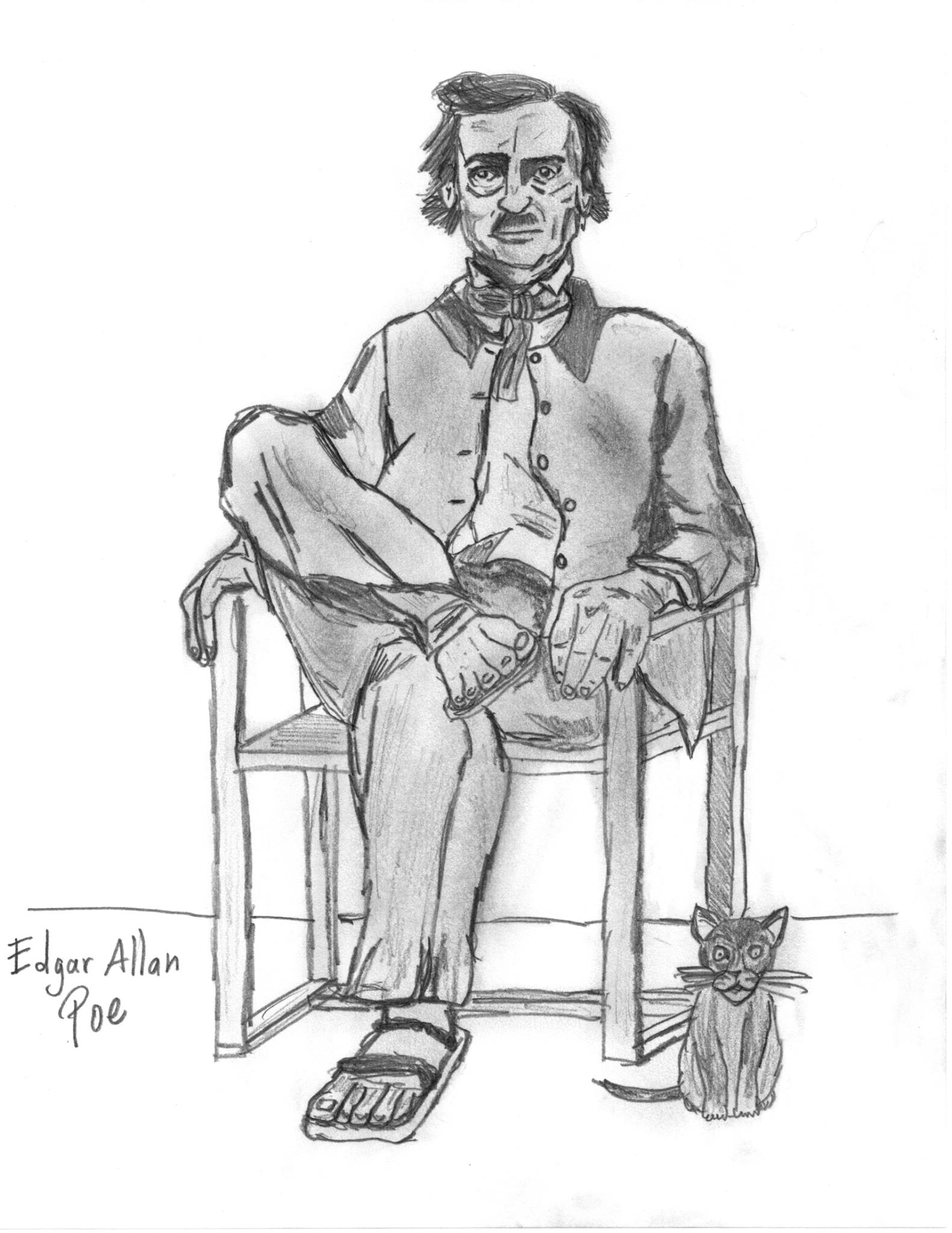 Dibujo de Edgar Allan Poe de Mario Contreras