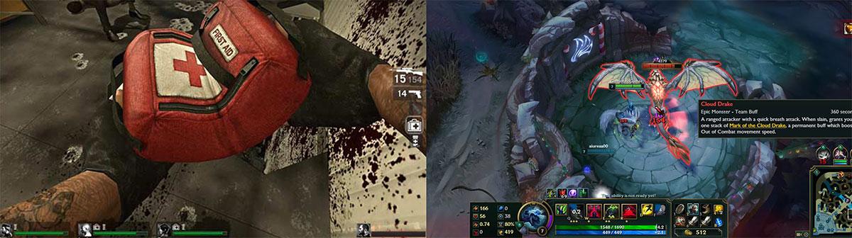 Utilización del rojo en videojuegos, ejemplos de Left4Dead y League of Legends