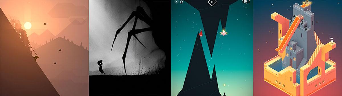 Arte en juegos cómo Limbo, Monument Valley, Fern Flower y Alto?s Odyssey.