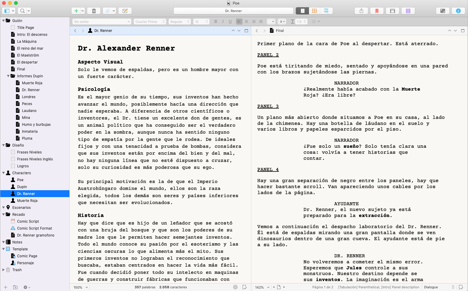 Flujo de trabajo con Scrivener para escribir un guion de videojuego
