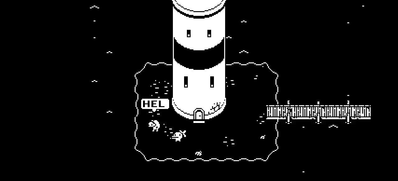 Arte retro en blanco y negro como en el videojuego Minit