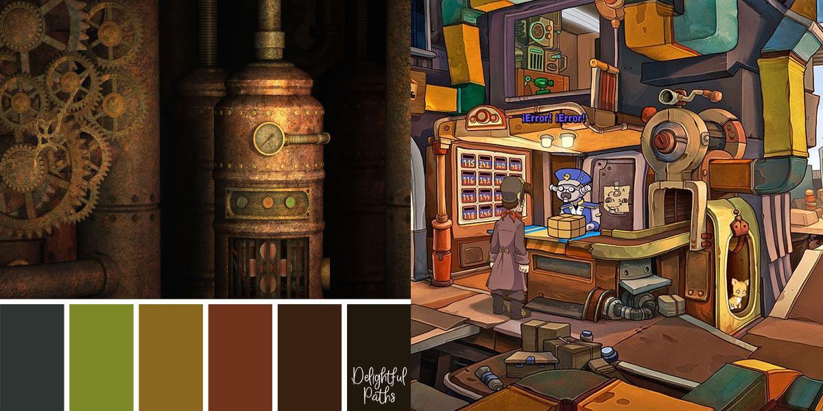 Paleta de colores Steampunk comparada con el videojuego Deponia