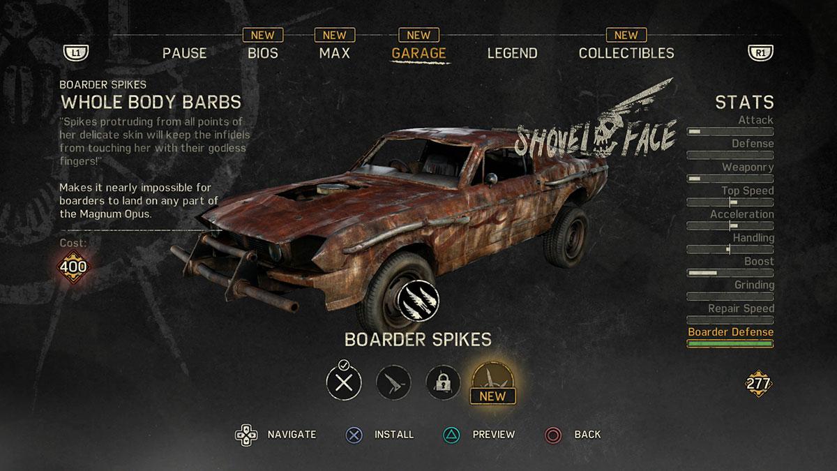 Mad Max ejemplo de UI para videojuego