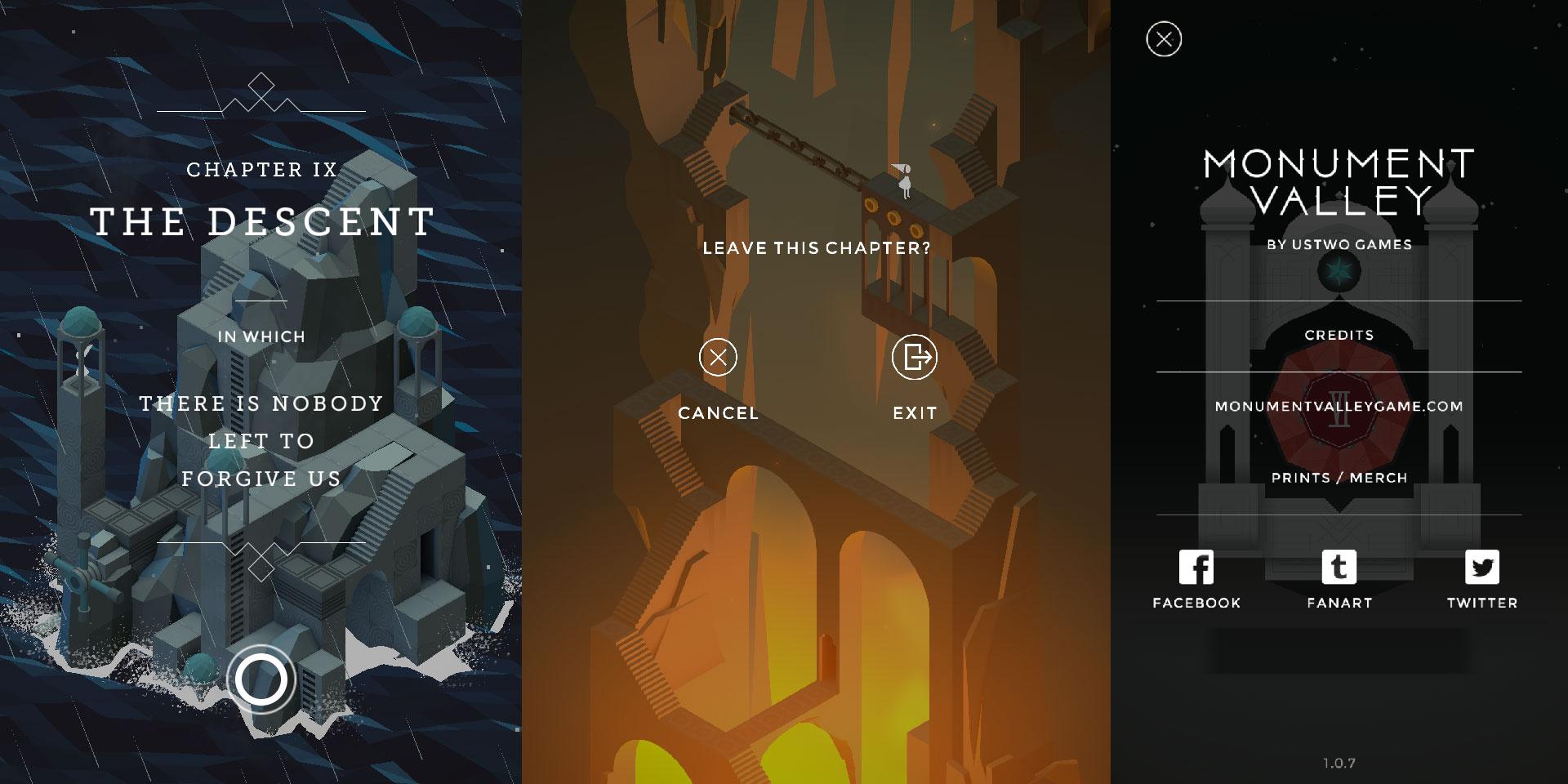 Diseño de UI elegante en Monument Valley