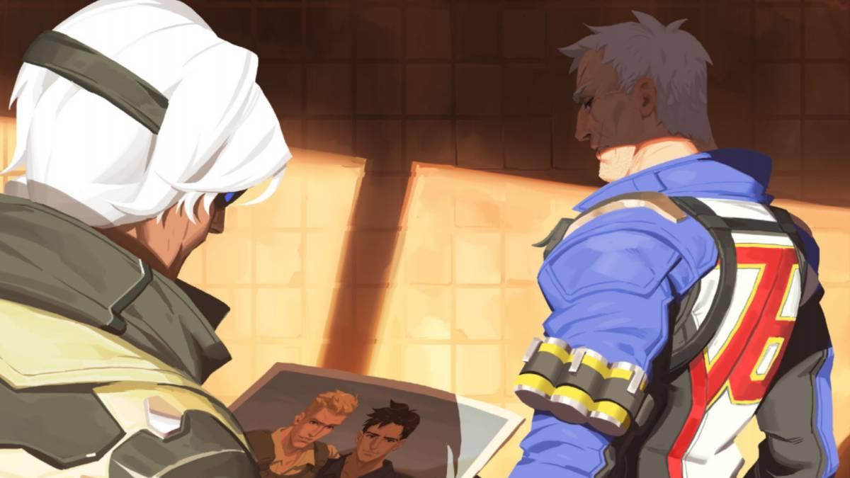 Ana y Soldado 76 en Bastet de la colección de cómics de Overwatch.