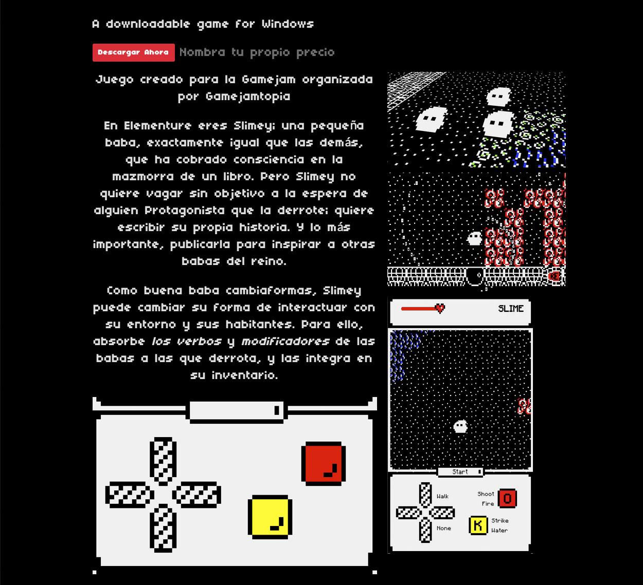 Página de itch.io del juego Elementure, de la game jam online GameJamTopia