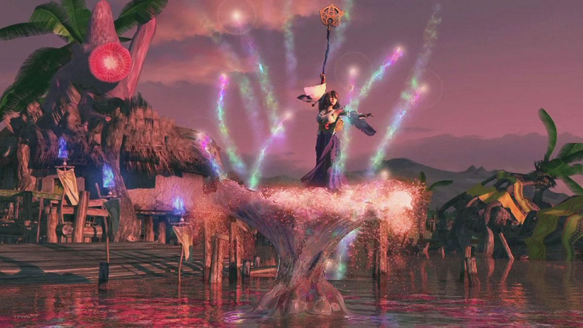 Escena de Yuna realizando un envío en Kilika en Final Fantasy X.