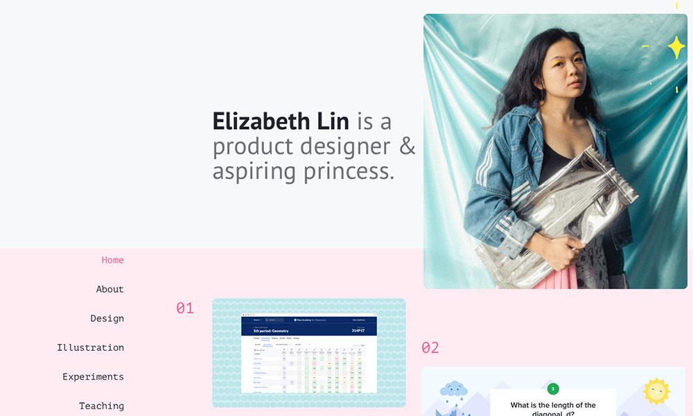 Ejemplo de portfolio de Elizabeth Lin